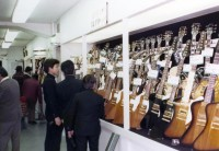 GibsonコーナーにはExplorer、Firebird、Thunderbirdが・・・ (渋谷店所蔵アルバムより)